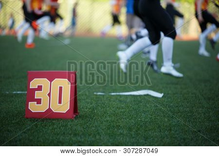 Image of soccer field with number thirty running football players on blurred background