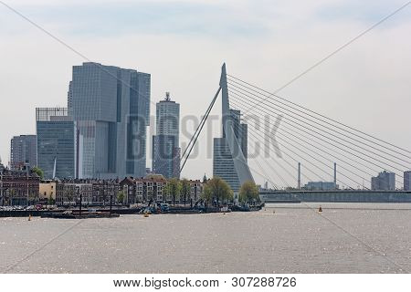 Rotterdam, Netherlands - Apr 23, 2019 : Skyline View From The New Meuse River Borders With Erasmus B