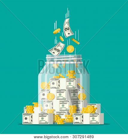 Glass Money Jar Full Of Gold Coins And Banknotes. Saving Dollar Coin In Moneybox. Growth, Income, Sa