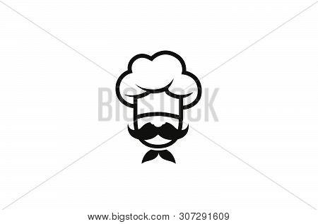 Creative Chef Head Moustache Logo Vector Design Illustration
