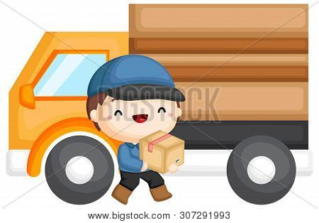 A Vector Of A Delivery Guy Delivering A Package