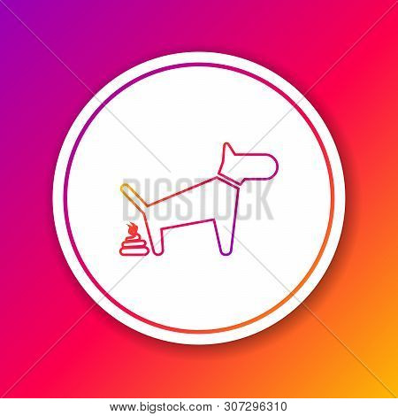 Color Dog Pooping Line Icon Isolated On Color Background. Dog Goes To The Toilet. Dog Defecates. The