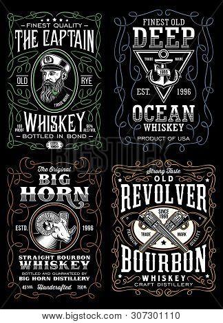 Vintage Whiskey Label T-shirt Design Collection On Black