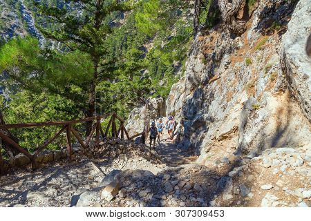Trail In The Samaria Gorge, The Largest Gorge In Europe. Southwestern Part Of The Island Of Crete, G