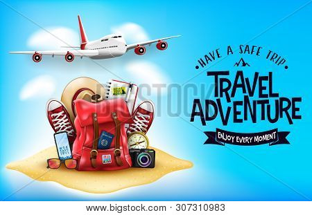 3d Realistic Travel Items Like Airplane, Backpack, Sneakers, Mobile Phone, Passport And Sunglasses I