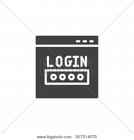 Website Login Window Vector Icon. Internet Account Password Filled Flat Sign For Mobile Concept And