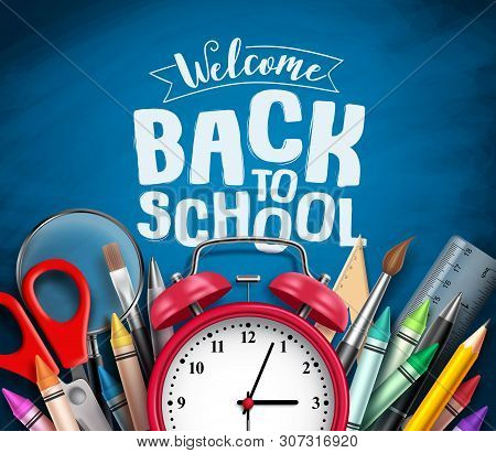 Back To School Vector Banner Design With School Items, Education Elements, Alarm Clock And Welcome B
