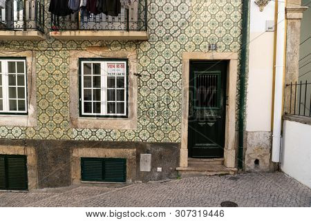 Lisbon, Portugal - November 14,2017 : Ceramic Tiles On A House In The Bairro Alto Neighborhood In Li