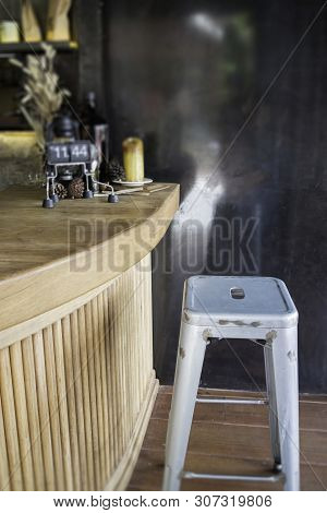 Wooden Counter Bar In Cafe Atmosphere, Stock Photo