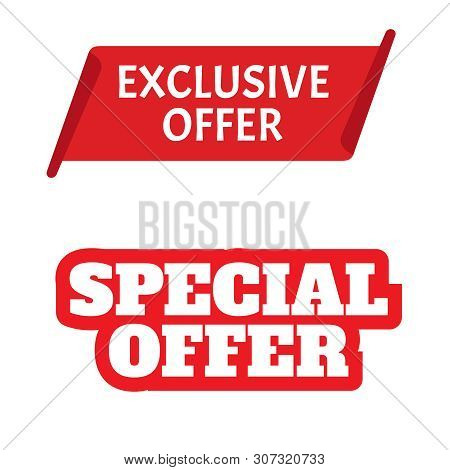 Red Vector Banner. Exclusive Offer. Sticker Or Discount Label, Promotion Poster