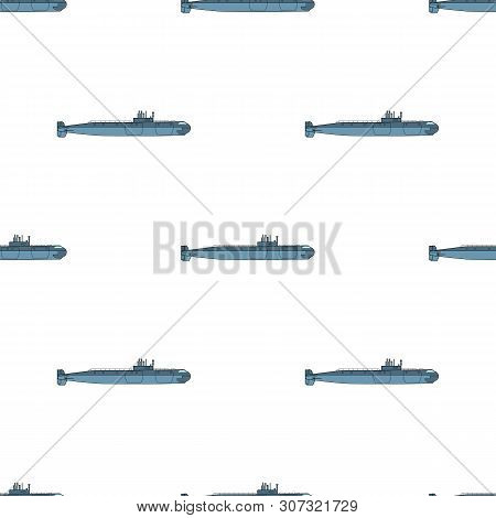 Seamless Pattern With Detailed Submarine. Side View. Warship In Flat Style. Military Ship. Battleshi