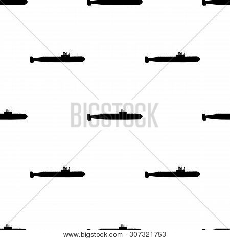 Seamless Pattern With Silhouette Of Submarine. Side View. Warship In Simple Style. Military Ship. Ba