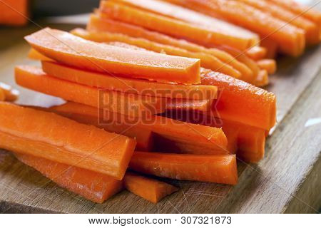 Carrot On Cutting Board Preparated For Cooking
