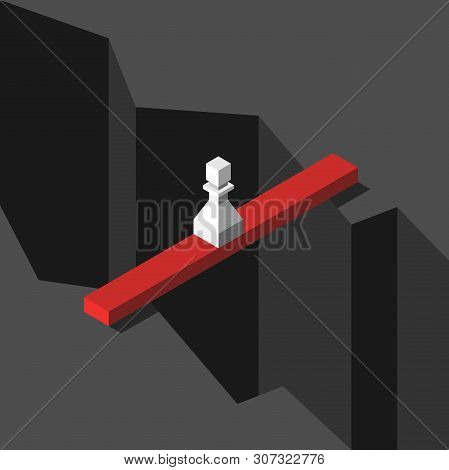 Isometric White Chess Pawn Standing On Bridge Above Great Gap Or Abyss. Courage, Risk, Problem, Solu