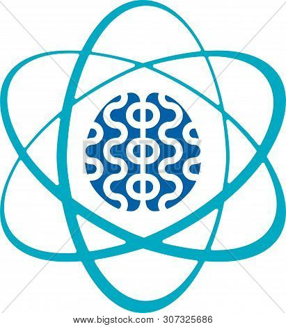 Brain Academy Concept. Education Icon With Atom And Sage.