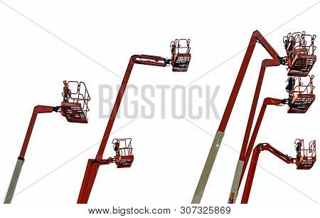 Orange Articulated Boom Lift. Aerial Platform Lift. Telescopic Boom Lift Isolated On White Backgroun