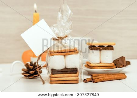 smore - sweet dessert - cookies, chocolate and marshmallows - traditional dessert - square favor tag mockup poster