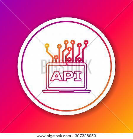 Color Computer Api Interface Line Icon Isolated On Color Background. Application Programming Interfa