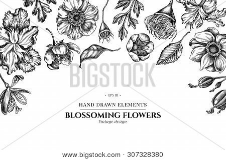 Floral Design With Black And White Japanese Chrysanthemum, Blackberry Lily, Eucalyptus Flower, Anemo