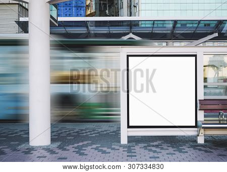 Mock Up Banner Board At Bus Stop Media Advertisement Outdoor Street Sign Display