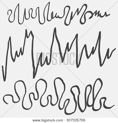 Vector Set Of Scrawl, Zigzag Hand Drawn. Collection Of Sketches Scrawl, Zigzag On A White Background