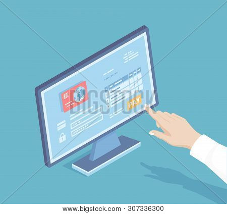 Online Payment Service. Invoice Form, Credit Card. Man Finger Presses The Pay Button On The Monitor