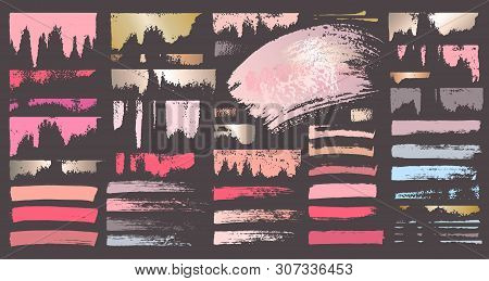 Swatches Makeup Strokes. Set Beauty Cosmetic Nude Brush Stains Smear Make Up Lines Collection Lipsti