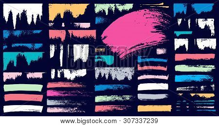 Set Stroke Spot Pastel Blod. Brush, Pen, Marker, Chalk. Vector Distressed Grunge Modern Textured Bru
