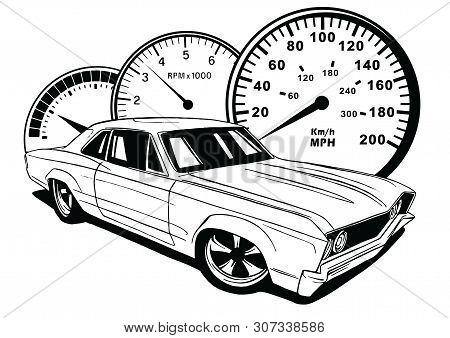 Old School Car. Muscle Car. Vector Illustration