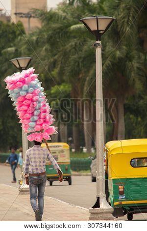Bangalore, Karnataka India-june 04 2019 : Street Vendor Selling Cotton Candy Or Bombay Mithai Or Pan