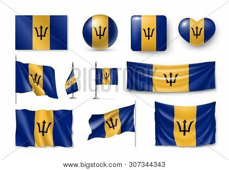 Various Flags Of Barbados Independent Country Set Isolated On White Background. Realistic Waving Fla