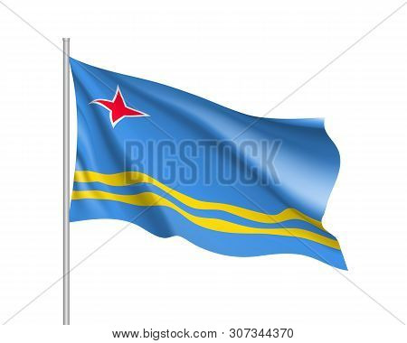 Waving Flag Of Aruba Island In Caribbean Sea. Illustration Of Caribbean Country Flag On Flagpole. Ve