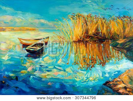 Original Oil Painting Of Boats,beautiful Lake And Fern(rush) On Canvas.sunset Over Ocean.modern Impr