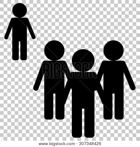 Vector Image Of A Crowd Of People And One Person Standing Aside. A Person Different From Others In B