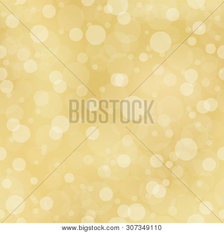 Abstract Background Gold Bokeh Light. White Circles On Yellow Background. White Circles On A Yellow