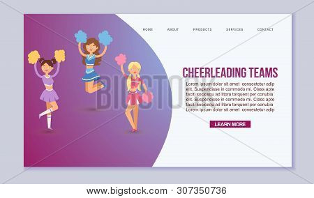 High-school Profession Cheerleading Teams Vector Template For Web Page. In Action. Fans Cheer Girls