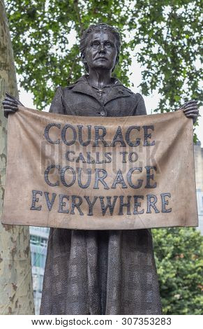 London / Uk - June 18th 2019 - Statue Of Millicent Fawcett In Parliament Square,