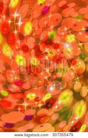 Orange Defocused Twirl Pattern Wallpaper. Abstract Blurred Background.