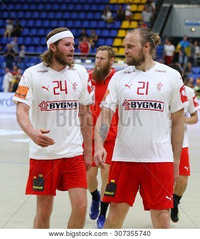 Kyiv, Ukraine - June 12, 2019: Handball Players Mikkel Hansen And Henrik Mollgaard Jensen Of Denmark