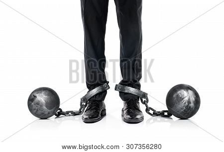 Guilty Businessman Shackled In The Iron Ball And Chain Isolated On White Background