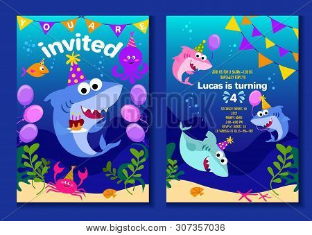 Baby Shark Party Invitation Cards. Happy Birthday Greeting Card In Cartoon Style With Under The Sea