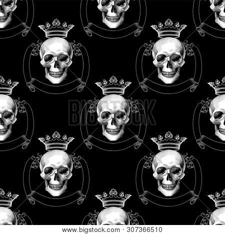 Engraving human death skull in crown.  Seamless pattern. Gothic coat of arms with skull with crown. Tattoo design element. Illustration for wallpaper, textile print, wrapping paper.