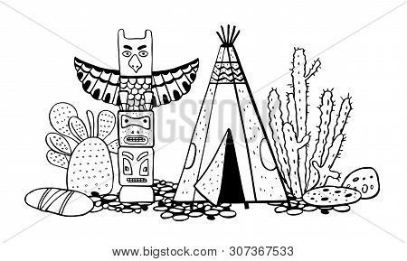 Native American Indians  Traditional Settlement. Tipi, Totem Pole And Cactuses. Vector Hand Drawn Ou