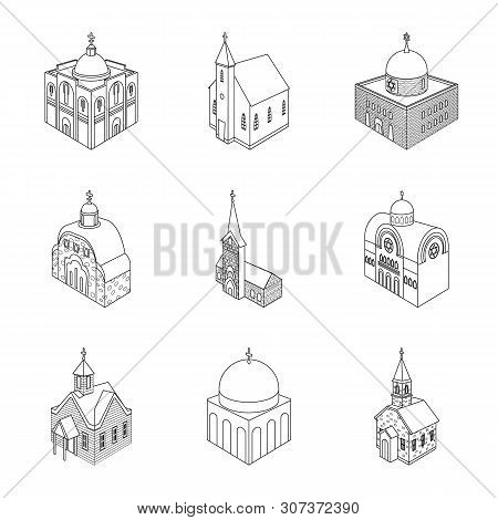 Vector Design Of Architecture And Building Symbol. Collection Of Architecture And Clergy Vector Icon