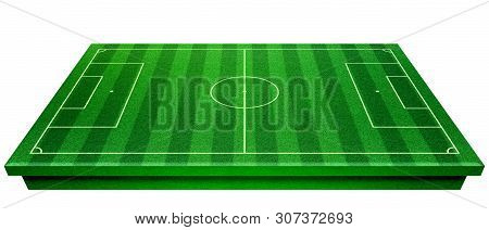 Football Stadium With White Lines Marking The Pitch. Perspective Of Football Field, Soccer Field Col