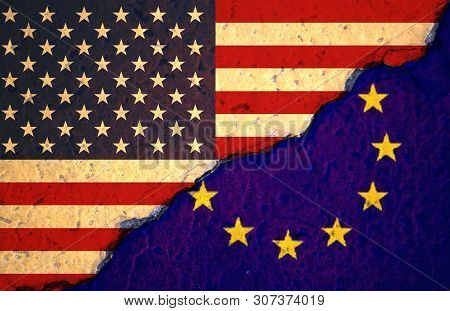 Closeup Cracked Of Usa Flag And Eu Flag For Sign Of Tariff Trade War.-image.