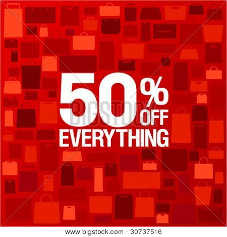 50 percent off sale background with shopping bags pattern.