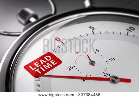 Lead Time Written On A Conceptual Stopwatch. Supply Chain Management Concept. 3d Illustration.