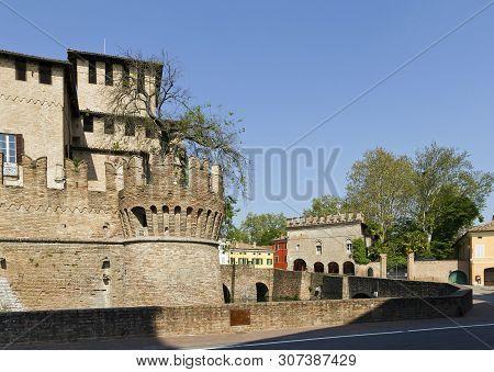 Castle Rocca Sanvitale In Fontanellato Has Crenelated Walls And Asymmetric Towers