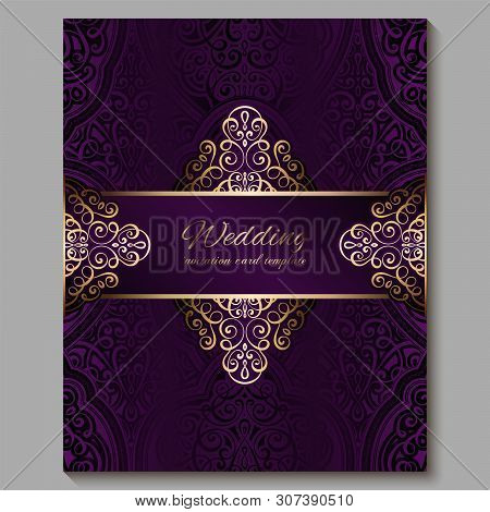 Wedding Invitation Card With Gold Shiny Eastern And Baroque Rich Foliage. Royal Purple Ornate Islami